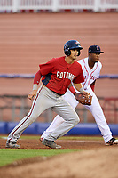 Potomac Nationals designated hitter Alec Keller (3) leads off first base during the first game of a doubleheader against the Salem Red Sox on June 11, 2018 at Haley Toyota Field in Salem, Virginia.  Potomac defeated Salem 9-4.  (Mike Janes/Four Seam Images)
