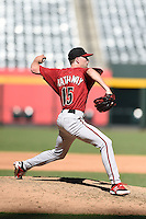 Arizona Diamondbacks pitcher Steve Hathaway (15) during an Instructional League game against the Oakland Athletics on October 10, 2014 at Chase Field in Phoenix, Arizona.  (Mike Janes/Four Seam Images)