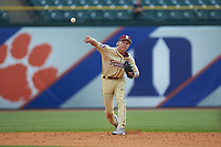 Florida State Seminoles shortstop Taylor Walls (10) makes a throw to first base against the North Carolina Tar Heels in the 2017 ACC Baseball Championship Game at Louisville Slugger Field on May 28, 2017 in Louisville, Kentucky. The Seminoles defeated the Tar Heels 7-3. (Brian Westerholt/Four Seam Images)