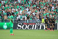 25th September 2021; Saint-Etienne Stade Geoffroy Guichard, France; AS Saint-Etienne versus OGC Nice; Left, Arnaud NORDIN watches as the OGC Nice players celebrate