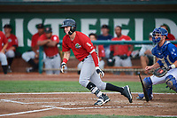 Romy Gonzalez (5) of the Great Falls Voyagers bats against the Ogden Raptors at Lindquist Field on August 21, 2018 in Ogden, Utah. Great Falls defeated Ogden 14-5. (Stephen Smith/Four Seam Images)