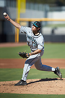 Coastal Carolina Chanticleers starting pitcher Zach McCambley (39) delivers a pitch to the plate against the Duke Blue Devils at Segra Stadium on November 2, 2019 in Fayetteville, North Carolina. (Brian Westerholt/Four Seam Images)