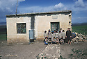 Syria 1981.A school near Afrin with the teacher and the schoolchildren.Syrie 1981.Une ecole dans la region d'Afrin avec l'institutrice et les eleves