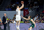 Real Madrid's coach Pablo Laso, Real Madrid's Klemen Prepelic and Zalgiris' Nate Wolters during Euroligue match between Real Madrid and Zalgiris Kaunas at Wizink Center in Madrid, Spain. April 4, 2019.  (ALTERPHOTOS/Alconada)