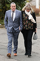 """COPY BY TOM BEDFORD<br /> Pictured: Victim David Evans (L) arrives at Merthyr Tydfil Crown Court, Wales, UK. Tuesday 06 February 2018<br /> Re: A trial of chef Kamrul Islam who attacked a client with chilli powder is due to start Merthyr Tydfil Crown Court.<br /> David Evans was at the Prince of Bengal restaurant on Saturday night when the incident took place.<br /> The 46-year-old was out for dinner with his wife Michelle when they were asked by a waiter if they were enjoying their curry.<br /> The couple said they told the waiter their meal was """"tough and rubbery"""" and he passed the complaint onto the head chef.<br /> Michelle said chilli powder was then thrown into her husband's eyes and he was taken to hospital."""
