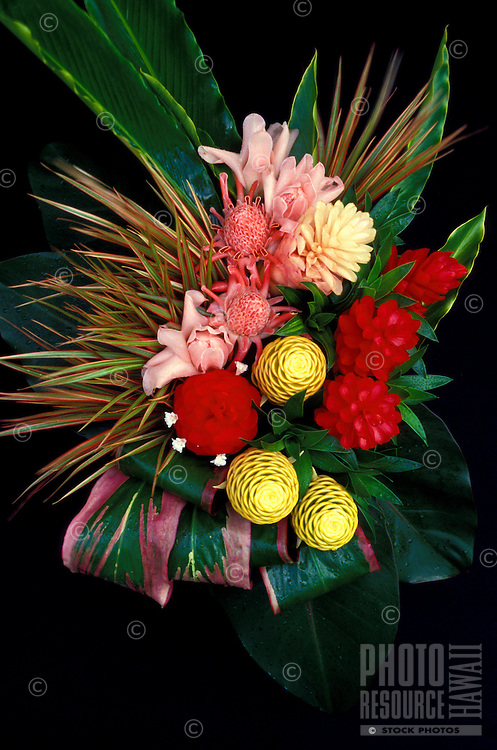 Assorted gingers with ti leaf and dracaena, arranged by Brooke Bearg