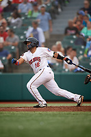 Brooklyn Cyclones Jose Mena (16) bats during a NY-Penn League game against the Tri-City ValleyCats on August 17, 2019 at MCU Park in Brooklyn, New York.  Brooklyn defeated Tri-City 2-1.  (Mike Janes/Four Seam Images)