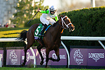 November 6, 2020: Aunt Pearl, ridden by Florent Geroux, wins the Juvenile Fillies Turf on Breeders' Cup Championship Friday at Keeneland on November 6, 2020: in Lexington, Kentucky. Carolyn Simancik/Breeders' Cup/Eclipse Sportswire/CSM