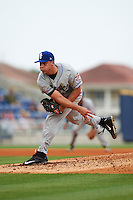 Biloxi Shuckers pitcher Jacob Barnes (23) follows through on a pitch during the second game of a double header against the Pensacola Blue Wahoos on April 26, 2015 at Pensacola Bayfront Stadium in Pensacola, Florida.  Pensacola defeated Biloxi 2-1.  (Mike Janes/Four Seam Images)