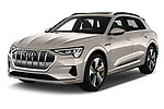 2019 Audi e-tron Advanced 5 Door SUV angular front stock photos of front three quarter view