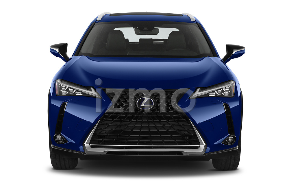 Car photography straight front view of a 2021 Lexus UX-300e Privilege 5 Door SUV Front View