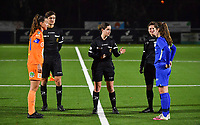 Silke Vanwynsberghe (21) of AA Gent pictured with referee Irmgard Van Meirvenne , assistant Gianni Seeldraeyers , assistant Ella De Vries and midfielder Sien Vandersanden (10) of KRC Genk during a female soccer game between  Racing Genk Ladies and AA Gent Ladies on the eleventh matchday of the 2020 - 2021 season of Belgian Scooore Womens Super League , friday 22 th of January 2021  in Genk , Belgium . PHOTO SPORTPIX.BE   SPP   DAVID CATRY
