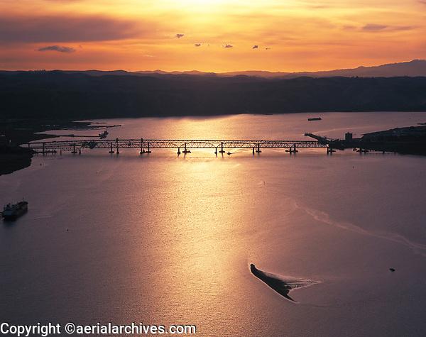 aerial photograph of the Benicia-Martinez Bridge at sunset, Carquinez Strait, California