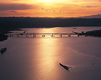aerial photograph of the Benicia-Martinez Bridge at sunset, Carquinez Strait, California