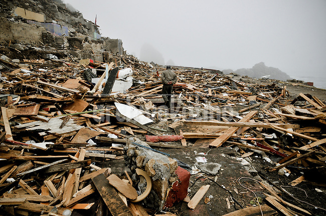 Chile, Aftermath of the tsunami in the area of Consitucion.