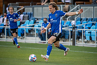 SAN JOSE, CA - MAY 12: Florian Jungwirth #23 of the San Jose Earthquakes passes the ball during a game between San Jose Earthquakes and Seattle Sounders FC at PayPal Park on May 12, 2021 in San Jose, California.