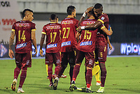 BARRANCABERMEJA - COLOMBIA, 25-02-2021: Jugadores del Tolima celebran después de anotar el quinto gol durante partido por la fecha 9 como parte de la Liga BetPlay DIMAYOR I 2021 entre Alianza Petrolera y Deportes Tolima jugado en el estadio Daniel Villa Zapata de la ciudad de Barrancabermeja. / Players of Tolima celebrate after scoring the fifth goal during match for the date 9 as part of BetPlay DIMAYOR I 2021 Liga between Alianza Petrolera and Deportes Tolima played at Daniel Villa Zapata stadium in Barrancabermeja city. Photo: VizzorImage / Jose Martinez / Cont