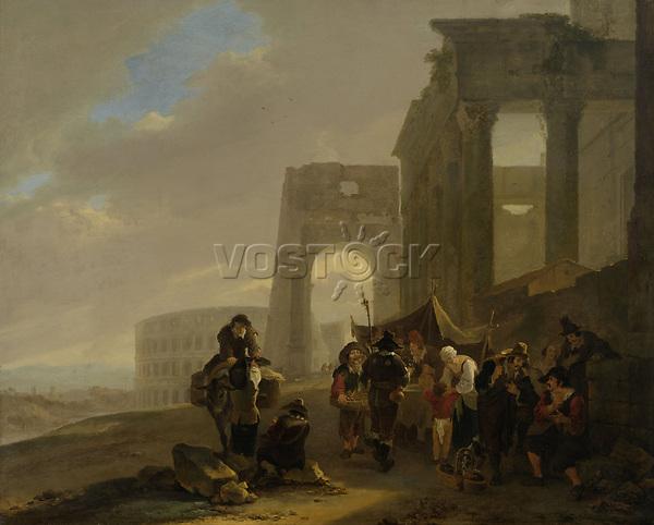 Folk scene between Roman ruins - by Jan Both, 1640 - 1652