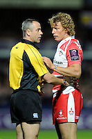Referee John Lacey of Ireland discusses a penalty with captain Billy Twelvetrees of Gloucester Rugby during the European Rugby Challenge Cup semi final match between Gloucester Rugby and Exeter Chiefs at Kingsholm Stadium on Saturday 18th April 2015 (Photo by Rob Munro)