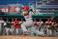 Auburn Doubledays Wilmer Perez (20) bats during a NY-Penn League game against the Batavia Muckdogs on June 19, 2019 at Dwyer Stadium in Batavia, New York.  Batavia defeated Auburn 5-4 in eleven innings in the completion of a game originally started on June 15th that was postponed due to inclement weather.  (Mike Janes/Four Seam Images)