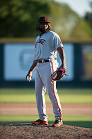 San Jose Giants relief pitcher Rodolfo Martinez (40) during a California League game against the Modesto Nuts at John Thurman Field on May 9, 2018 in Modesto, California. San Jose defeated Modesto 9-5. (Zachary Lucy/Four Seam Images)