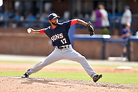 Hagerstown Suns pitcher Mariano Rivera III (17) delivers a pitch during a game against the Asheville Tourists at McCormick Field on September 5, 2016 in Asheville, North Carolina. The Suns defeated the Tourists 9-5. (Tony Farlow/Four Seam Images)