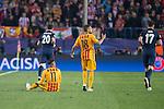 Atletico de Madrid's Juanfran and Saul Ñiguez and FC Barcelona Neymar and Jordi Alba during Champions League 2015/2016 Quarter-Finals 2nd leg match. April 13, 2016. (ALTERPHOTOS/BorjaB.Hojas)