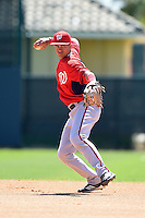 Washington Nationals second baseman Bryan Mejia (9) during practice before a minor league spring training game against the Atlanta Braves on March 26, 2014 at Wide World of Sports in Orlando, Florida.  (Mike Janes/Four Seam Images)