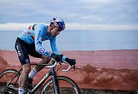 Wout Van Aert (BEL/Cibel-Cebon) trying to catch up<br /> <br /> Men's Elite race <br /> <br /> UCI 2019 Cyclocross World Championships<br /> Bogense / Denmark<br /> <br /> <br /> ©kramon