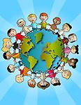 Illustration of multi ethnic children standing on planet representing teamwork