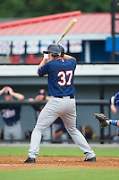 Dutch Deol (37) of the Elizabethton Twins at bat against the Burlington Royals at Burlington Athletic Park on June 25, 2014 in Burlington, North Carolina.  The Twins defeated the Royals 8-0. (Brian Westerholt/Four Seam Images)