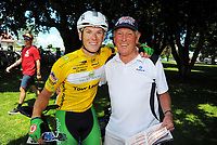 Nick Reddish with his grandfather Bruce Parkinson (right).  Stage Three of the 2018 NZ Cycle Classic UCI Oceania Tour (Masterton to Martinborough) in Wairarapa, New Zealand on Friday, 19 January 2018. Photo: Dave Lintott / lintottphoto.co.nz