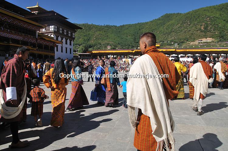 Bhutanese people entering Tashichoe Dzong for the annual festival of Thimpu Tsechu. Arindam Mukherjee..