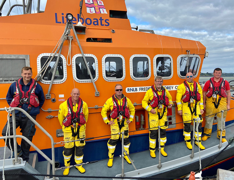 The RNLI Lifeboat crewmembers under Coxswain Sean O'Farrell after they arrived back to base in Courtmacsherry