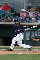 Edwin Medina (16) of the Lancaster JetHawks bats during a game against the Bakersfield Blaze at The Hanger on August 5, 2015 in Lancaster, California. Bakersfield defeated Lancaster, 12-5. (Larry Goren/Four Seam Images)