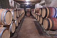 Oak barrel aging and fermentation cellar. Domaine Philippe Livera, Gevrey Chambertin, Cote de Nuits, d'Or, Burgundy, France