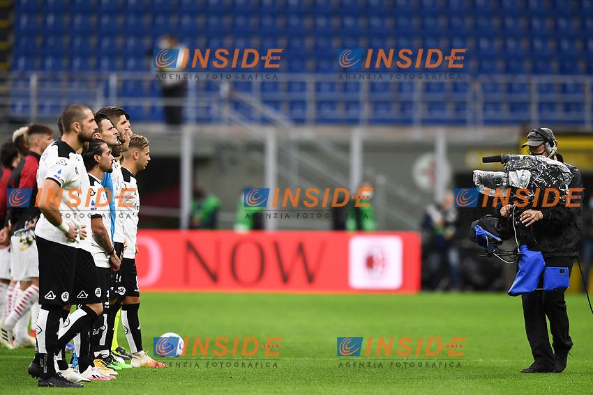 cameramen<br /> Serie A football match between AC Milan and Spezia Calcio at San Siro Stadium in Milano  (Italy), October 4th, 2020. Photo Image Sport / Insidefoto