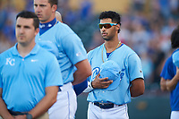 Omaha Storm Chasers MJ Melendez (2) during the National Anthem before a game against the Iowa Cubs on August 14, 2021 at Werner Park in Omaha, Nebraska. Omaha defeated Iowa 6-2. (Zachary Lucy/Four Seam Images)