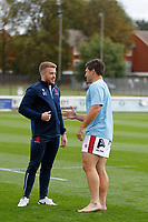 Elliott Creed of London Scottish and Matt Gordon during the Championship Cup match between London Scottish Football Club and Nottingham Rugby at Richmond Athletic Ground, Richmond, United Kingdom on 28 September 2019. Photo by Carlton Myrie / PRiME Media Images