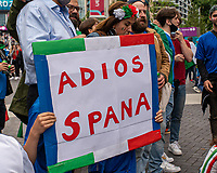 6th July 2021; Wembley Stadium, London, England; Euro 2020 Football Championships semi-final, Italy versus Spain; Italian fans send a message to Spain