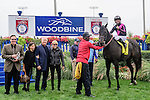 Stacked Deck(4) with Jockey Luis Saez aboard  in the winner's circle after running to victory at the Bold Venture  Stakes at Woodbine Race Course in Toronto, Canada on September 13, 2015.