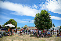 Fans watch the presentations after the NZ Cycle Classic stage five of the UCI Oceania Tour in Masterton, New Zealand on Saturday, 23 January 2016. Photo: Dave Lintott / lintottphoto.co.nz