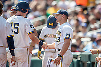 Michigan Wolverines head coach Erik Bakich (23) talked with Jimmy Kerr (15) during Game 11 of the NCAA College World Series against the Texas Tech Red Raiders on June 21, 2019 at TD Ameritrade Park in Omaha, Nebraska. Michigan defeated Texas Tech 15-3 and is headed to the CWS Finals. (Andrew Woolley/Four Seam Images)