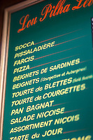 Europe/France/Provence-Alpes-Côte d'Azur/Alpes-Maritimes/Nice: Vieux Nice: Menu d'un restaurant - Spécialités nicoises  // Europe, France, Provence-Alpes-Côte d'Azur, Alpes-Maritimes, Nice,  district Vieux Nice,