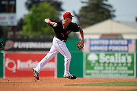Batavia Muckdogs third baseman Nic Ready (5) throws to first base during a NY-Penn League game against the Auburn Doubledays on June 19, 2019 at Dwyer Stadium in Batavia, New York.  Batavia defeated Auburn 5-4 in eleven innings in the completion of a game originally started on June 15th that was postponed due to inclement weather.  (Mike Janes/Four Seam Images)