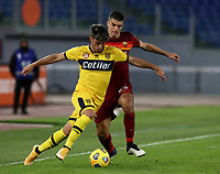 Football, Serie A: AS Roma - Parma, Olympic stadium, Rome, November 22, 2020. <br /> Roma's Gianluca Mancini (r) in action with Parma's Juan Francisco Brunetta (l) during the Italian Serie A football match between Roma and Parma at Rome's Olympic stadium, on November 22, 2020. <br /> UPDATE IMAGES PRESS/Isabella Bonotto