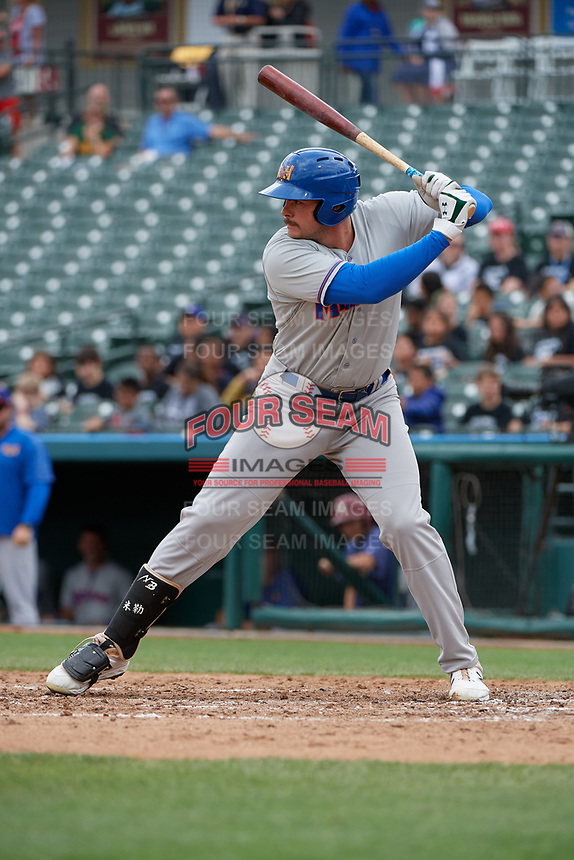Midland RockHounds Anthony Miller (40) bats during a Texas League game against the Frisco RoughRiders on May 21, 2019 at Dr Pepper Ballpark in Frisco, Texas.  (Mike Augustin/Four Seam Images)