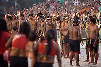 IV Jogos Tradicionais Indígenas do Pará<br /> <br /> Índios da Etnia Gavião Kiykatejê<br /> <br /> Quinza etnias participam dos  IX Jogos Indígenas, iniciados neste na íntima sexta feira. Aikewara (de São Domingos do Capim), Araweté (de Altamira), Assurini do Tocantins (de Tucuruí), Assurini do Xingu (de Altamira), Gavião Kiykatejê (de Bom Jesus do Tocantins), Gavião Parkatejê (de Bom Jesus do Tocantins), Guarani (de Jacundá), Kayapó (de Tucumã), Munduruku (de Jacareacanga), Parakanã (de Altamira), Tembé (de Paragominas), Xikrin (de Ourilândia do Norte), Wai Wai (de Oriximiná). Participam ainda as etnias convidadas - Pataxó (da Bahia) e Xerente (do Tocantins). <br /> <br /> <br /> Mais de 3 mil pessoas lotaram as arquibancadas da arena de competição.<br /> Praia de Marudá, Marapanim, Pará, Brasil.<br /> Foto Paulo Santos<br /> 06/09/2014