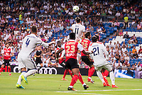 Real Madrid's player Sergio Ramos, Gareth Bale and Morata and Stade de Reims's player Jeanvier and Weber during the XXXVII Santiago Bernabeu Trophy in Madrid. August 16, Spain. 2016. (ALTERPHOTOS/BorjaB.Hojas) /NORTEPHOTO