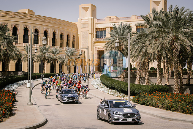 The start of Stage 5 of the Saudi Tour 2020 running 144km from Princess Nourah University to Al Masmak, Saudi Arabia. 8th February 2020. <br /> Picture: ASO/Pauline Ballet | Cyclefile<br /> All photos usage must carry mandatory copyright credit (© Cyclefile | ASO/Pauline Ballet)